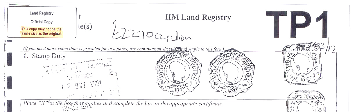 Land Registry Tr1 >> Conveyance Deeds & Deed Plans